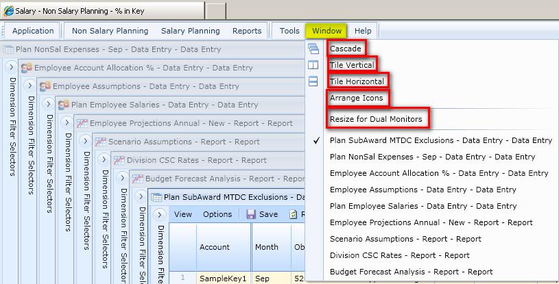 windows menu ucar budgeting forecasting and reporting tools